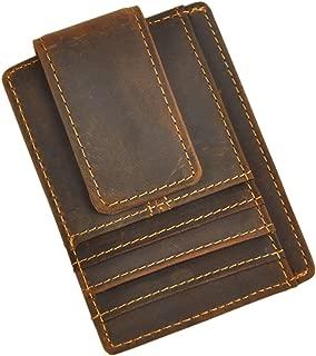 Le'aokuu Genuine Leather Magnet Money Clip Credit Card Case Holder Slim Wallet