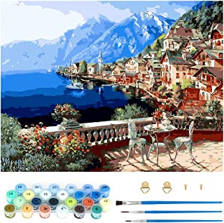 Pintar por Numeros, Pintura por Números Vacaciones en la Playa Kits, Colorear por Numeros para Adultos Niños, DIY Pintar p...
