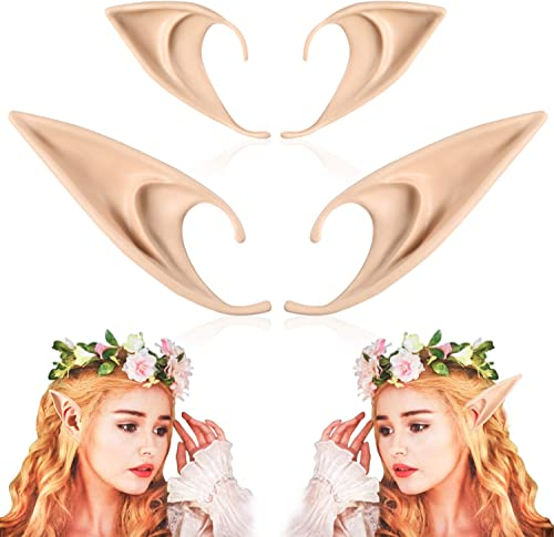 2 Pairs Elf Ears - Medium and Long Style Cosplay Fairy Pixie Elf Ears Soft Pointed Ears Tips Anime Party Dress Up Cos...