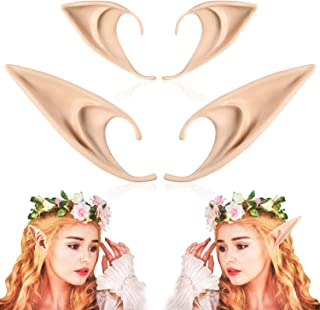 FRESHME Pairs Medium and Long Style Cosplay Pixie Elf Soft Pointed Tips Anime Party Dress Up Costume Masquerade Accessories Halloween Elven Vampire Fairy Ears (2, Beige