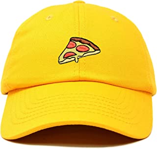 Boy/'s Black Flat Bill Cap with Emoji Alien and Pizza Embroidered OSFM
