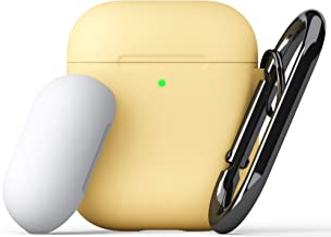 KeyBudz - PodSkinz Switch AirPods Case with Carabiner Compatible with Apple Airpods 1 & AirPods 2 - Pastel Yellow