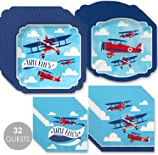 Big Dot of Happiness Taking Flight - Airplane - Vintage Plane Baby Shower or Birthday Party Tableware Plates and Napkins - Bundle for 32