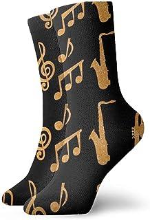 Trompetas de saxofón Música Oro Negro Novedad Divertido Crazy Crew Sock Cool Unisex Sport Athletic Calcetines 30cm Long Gift Calcetines