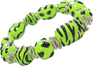 Linpeng Fiona BR-1460 3D Hand Painted Animal Print Glass Beads Stretch Bracelet in Free Gift Bag, Green & Black