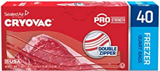 Diversey CRYOVAC Resealable Double Zipper Quart Freezer Bags (40 Bags)