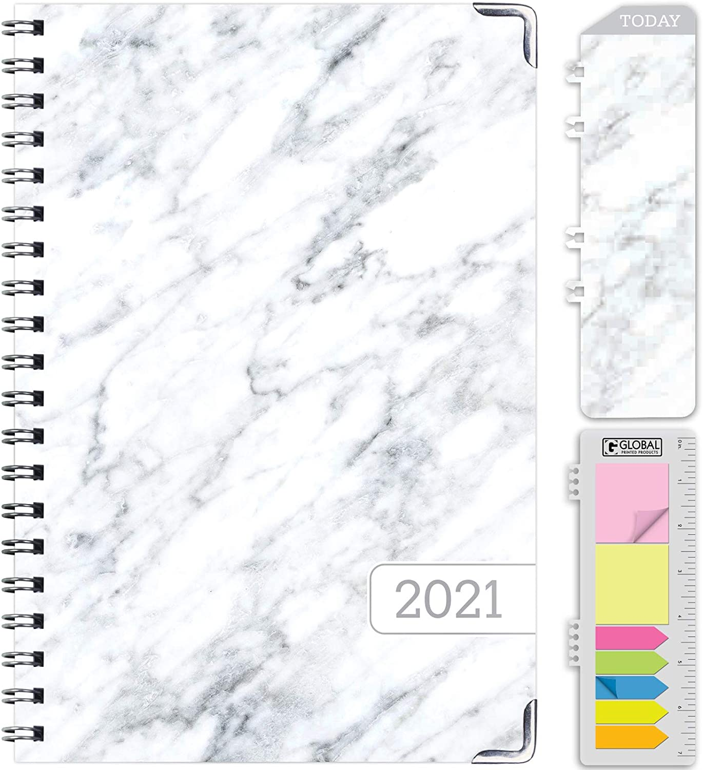 November 2020 Through December 2021 5.5x8 Daily Weekly Monthly Planner Yearly Agenda Bookmark HARDCOVER 2021 Planner: Grey Marble Pocket Folder and Sticky Note Set