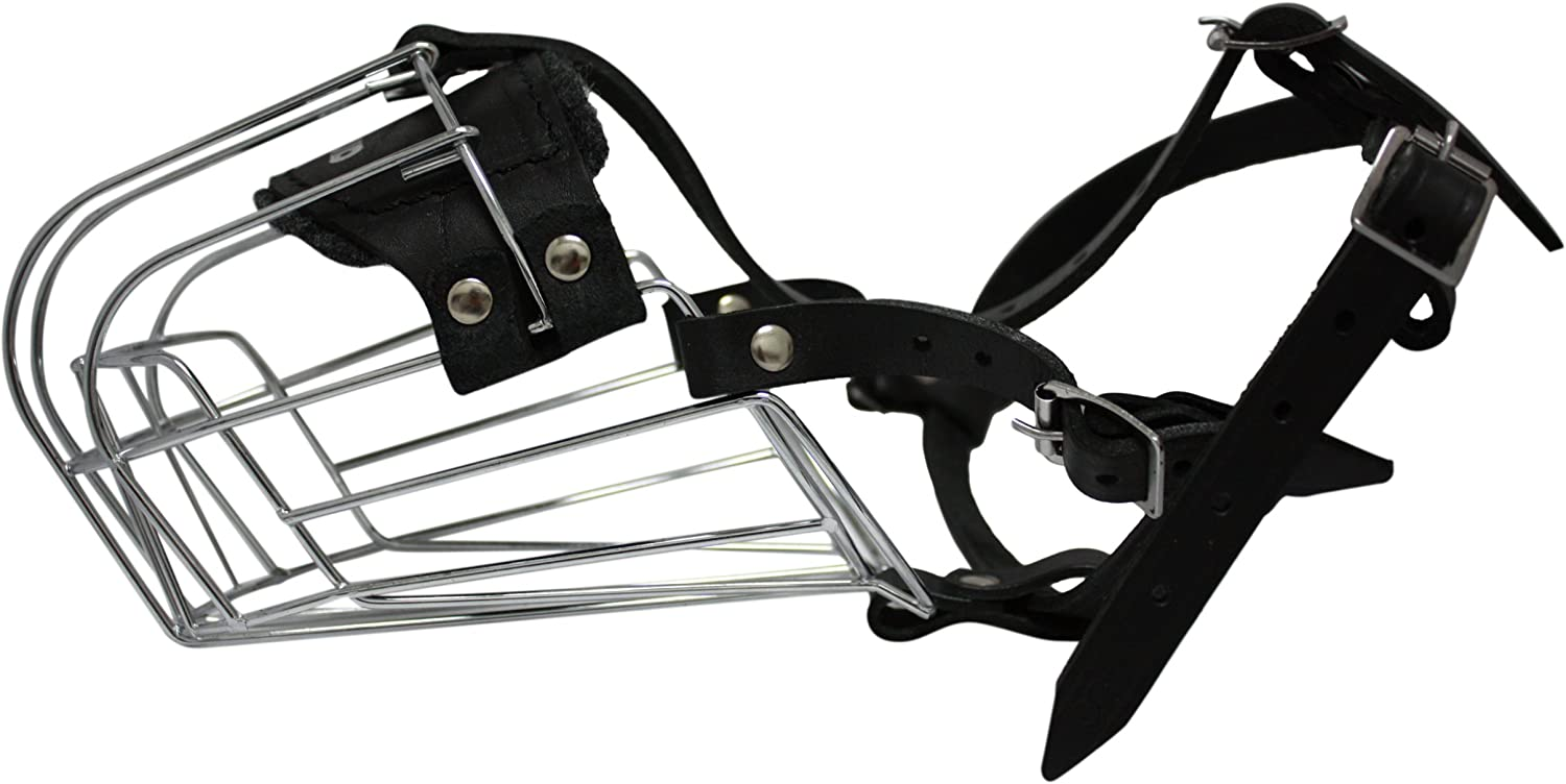 Angel Pet Supplies Inc. Wire Cage & Leather Muzzle (Miami). Size 8, Black. 14  circumference, 4.5  length. Best fits  golden Retrievers, Huskies, Labradors, Alaskan Malamutes