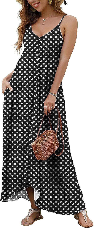 GRECERELLE Women's Summer Casual Loose Dress Beach Cover Ups Long Cami Maxi Dresses