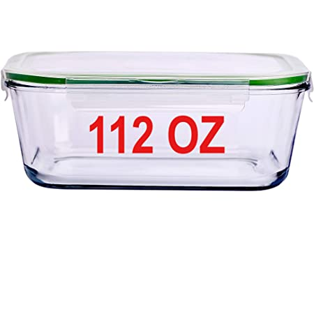 Amazon Com 112 Oz 14 Cup Glass Food Storage Container With Locking Lid 3 3 L Family Size Extra Large Bakeware Marinating Lock Baking Dish Container Glasslock Bowls Meal Storing Serving Food Leakproof