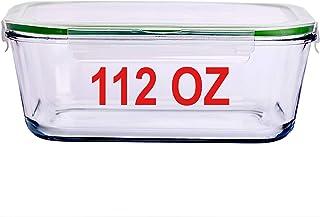 حاوية تخزين الطعام الزجاجية سعة 125 مل مع غطاء غلق 14 كوب 3.3 لتر حجم العائلة كبير جدًا من إعداد الخَبز والتمارين لحاوية ا...