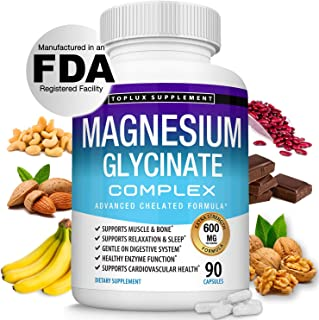 Magnesium Glycinate Complex 600 MG High Absorption 100% DV Chelated - Formulated for Calm, Sleep, Muscle Re...