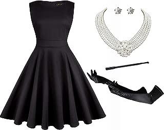 Audrey Hepburn Holly Golightly Breakfast at Tiffanys Costume 50s Dress Sleeveless Tea Dress and Jewelry Set