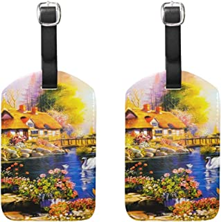 MASSIKOA Sunset Log Cabin Flowers Painting Cruise Luggage Tags Suitcase Labels Bag,2 Pack
