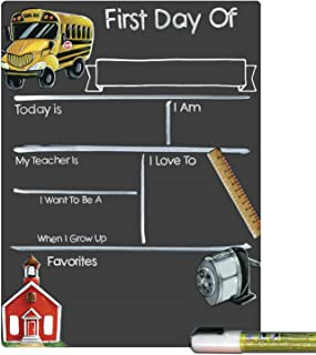 Cohas First Day of School Milestone Board with Schoolhouse Theme, Reusable Chalkboard Style Surface, and Liquid Chalk Marker, 9 by 12 Inches, White Marker