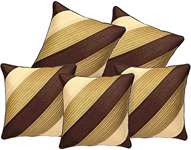 Decor Studioz Geometric Design Synthetic Cushion Cover(16x20-inches, Set of 5) - Brown and Gold