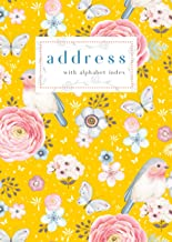 Address with Alphabet Index: B6 Small Contact Notebook with A-Z Alphabetical Labels | Robin Bird Butterfly Flower Cover De...