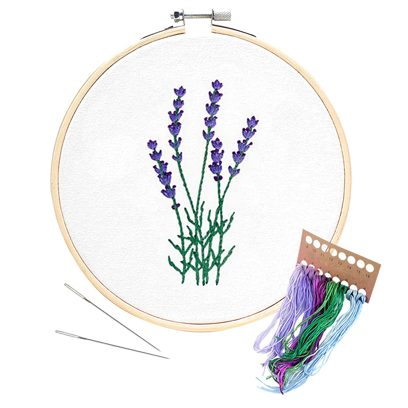 Unime Embroidery Starter Kit with Pattern Full Range Embroidery Kit with Embroidery Cloth, Embroidery Hoop, Color Threads, Needles (Lavender)