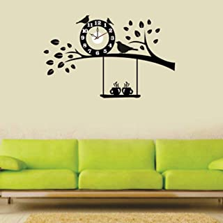 SYGA Black Tree and Birds Wall Clock Stickers_20