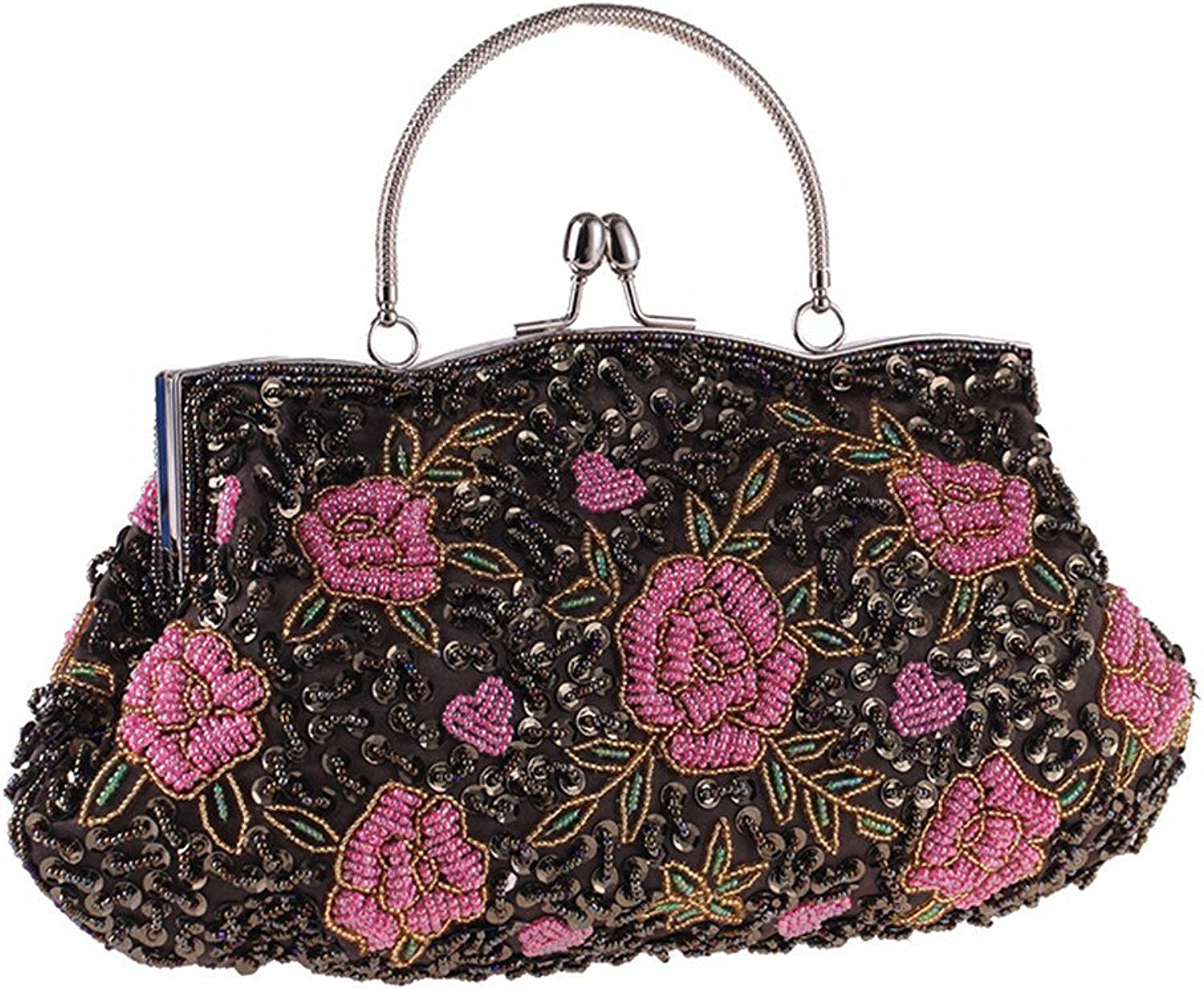 Missfiona Pink pink Jewels Beaded Kissing-Lock Evening Clutch Top-Handle Bag