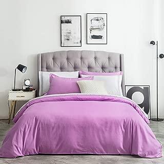 SUSYBAO 3 Piece Duvet Cover Set Queen Size 100% Natural Cotton Lavender Bedding Set 1 Violet Orchid Duvet Cover with Hidden Zipper Ties 2 Pillow Shams Luxury Quality Soft Elegant Breathable Durable
