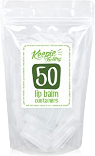 Keepie Factory Empty Lip Balm Containers - FDA APPROVED Non Toxic BPA Free MADE IN USA DIY Round Tubes & Caps Business Professional Quality, Clear (50 Pack)