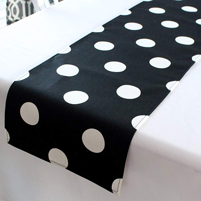 12x48 Inches Black And White Polka Dot Table Runner