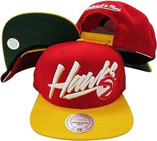 Atlanta Hawks Diagonal Script Red/Yellow Two Tone Plastic Snapback Adjustable Plastic Snap Back Hat/Cap