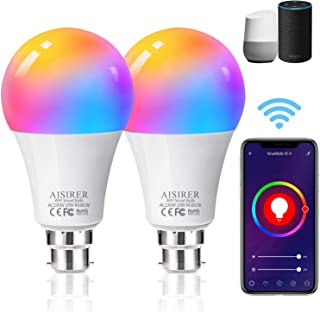 AISIRER Alexa Smart Bulb WiFi Light Bulbs B22 Bayonet, 2 Pack, 10W 1000LM, App or Voice Control, 90W Dimmable White and RG...