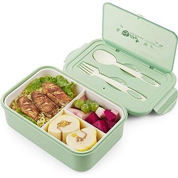 Rosado Caja de Bento con 3 Compartimentos,microondas y lavavajillas Lunch Box,Bento Box para Ni/ños,Fambrera Infantil,Caja de Almuerzo de Pl/ástico,Fiambreras Bento