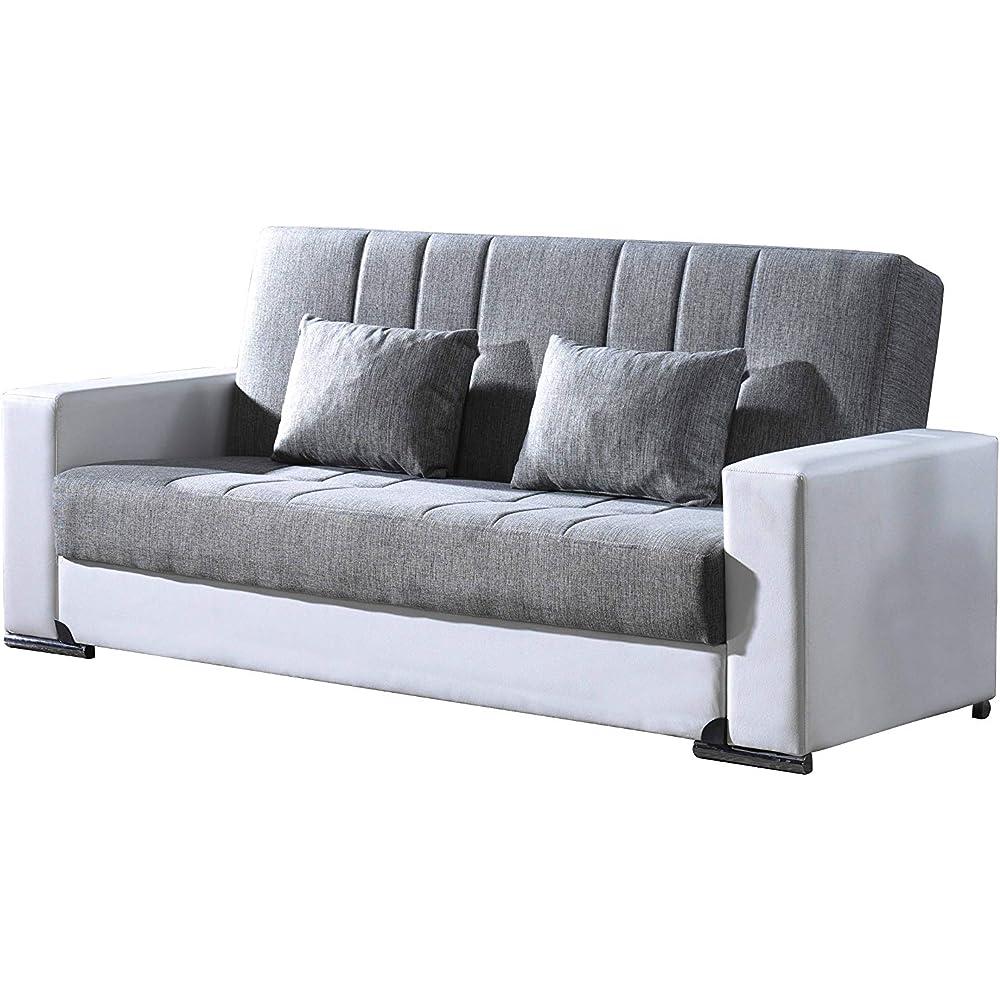 Eurobrico, divano letto 3 posti con cassettone e sistema clic clac in tessuto e braccioli in similpelle Eurobrico