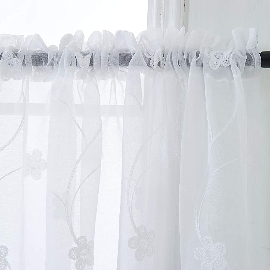 PRAVIVE Sheer White Embroidered Kitchen Swag Valance Floral Embroidered Window Tiers Pair Rod Pocket Window Curtain Valance White on Floral Pattern 55x36 Inch 2 Panels Set, Embroidered Crafted Flower