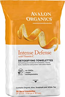 Avalon Organics Intense Defense Detoxifying Facial Towelettes, 30 Count