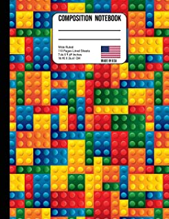 Composition Notebook Wide Ruled: Trendy Colorful Building Blocks Back to School Composition Book for Teachers, Students, Kids and Teens