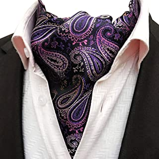 MOHSLEE Men's Silk Suit Red Wine Paisley Ascot Woven Cravat Self Ties Neckties