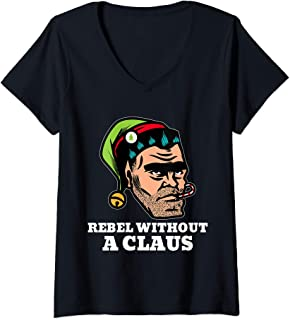 Womens Rebellious Elf Rebel Without a Claus Funny Christmas Pun V-Neck T-Shirt
