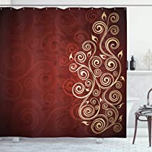 Ambesonne Burgundy Shower Curtain, Floral Swirls Ivy Image with Ombre Details Grunge Backdrop Flower Artwork, Cloth Fabric Bathroom Decor Set with Hooks, 70