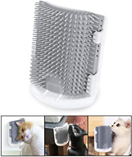 Kingtree Cat Self Groomer, Upgrade Version Cats Wall Corner Grooming Brush, Softer Rubber Bristles Larger Size Pet Massage Comb, Easy Mount on Cage, Flat Surface and Corners - Grey