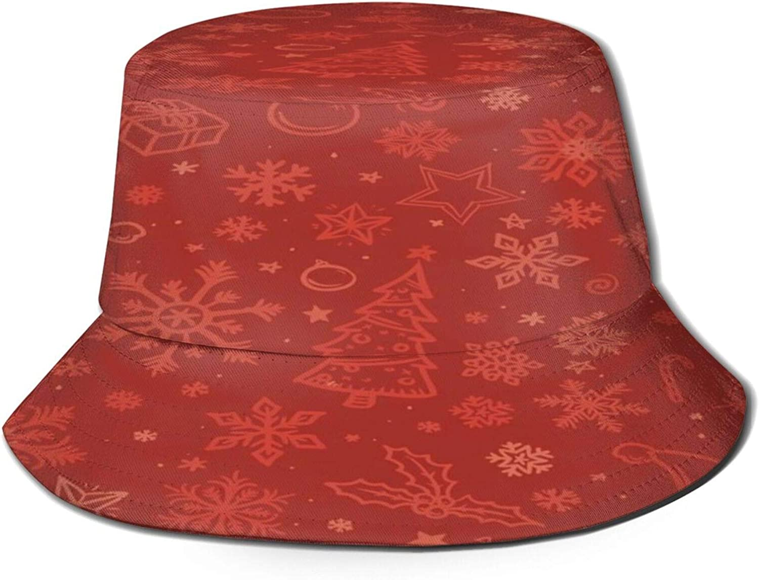 Red Sketched Christmas All items free shipping Bucket Hat Over item handling ☆ Packable Summer Sun Unisex