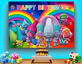 TJ Trolls Poppy Animation Movies Photo Background Baby Shower Happy Birthday Theme Party Photography Backdrops Vinyl Kids Colorful Decor Banner Photo Booth Studio Props 5X3FT