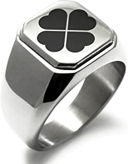 Stainless Steel Four Leaf Clover Heart Square Flat Top Biker Style Polished Ring