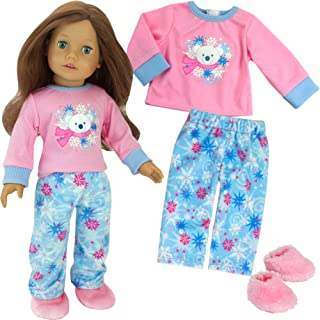 Polar Bear Winter Doll Pajamas for 18 Inch Dolls, 3 Piece Snowflake Set Includes Slippers