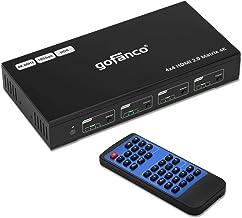 gofanco 4x4 HDMI 2.0 Matrix Switcher W/IR Remote & Web GUI Control - (4K 60Hz YUV 4:4:4, HDR) - HDMI 2.0, HDCP 2.2/1.4, SP...