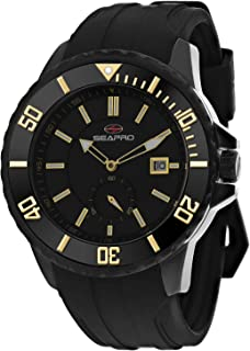 Seapro Men's Force Stainless Steel Automatic Rubber Strap, Black, 24 Casual Watch (Model: SP0514)