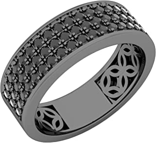 Dazzlingrock Collection 1.25 Carat (ctw) Black Rhodium Plated Black Diamond Men's Wedding Band 1 1/4 CT, Sterling Silver