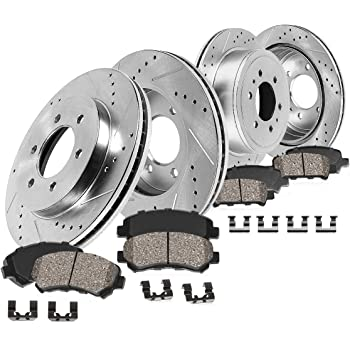 Power Stop K2736 Front /& Rear Brake Kit with Drilled//Slotted Brake Rotors and Z23 Evolution Ceramic Brake Pads