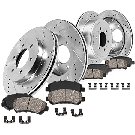 NOTE: Electric Parking Brake fits 2018 Ford F-150 Lariat Rear Cross Drilled and Slotted Disc Brake Rotors and Ceramic Brake Pads INROBLE - Two Years Warranty