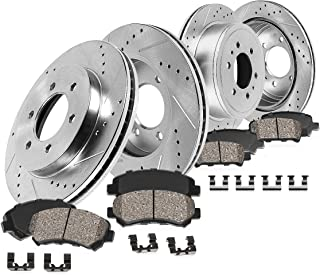 Callahan CDS02208 FRONT 296mm + REAR 285.5mm D/S 6 Lug [4] Rotors + Ceramic Brake Pads + Clips [Nissan Frontier Xterra]