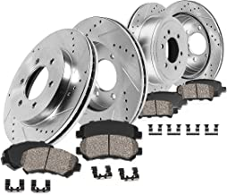 Callahan CDS02452 FRONT 330mm + REAR 345mm D/S 6 Lug [4] Rotors + Brake Pads + Clips [for Chevy Silverado Escalade]