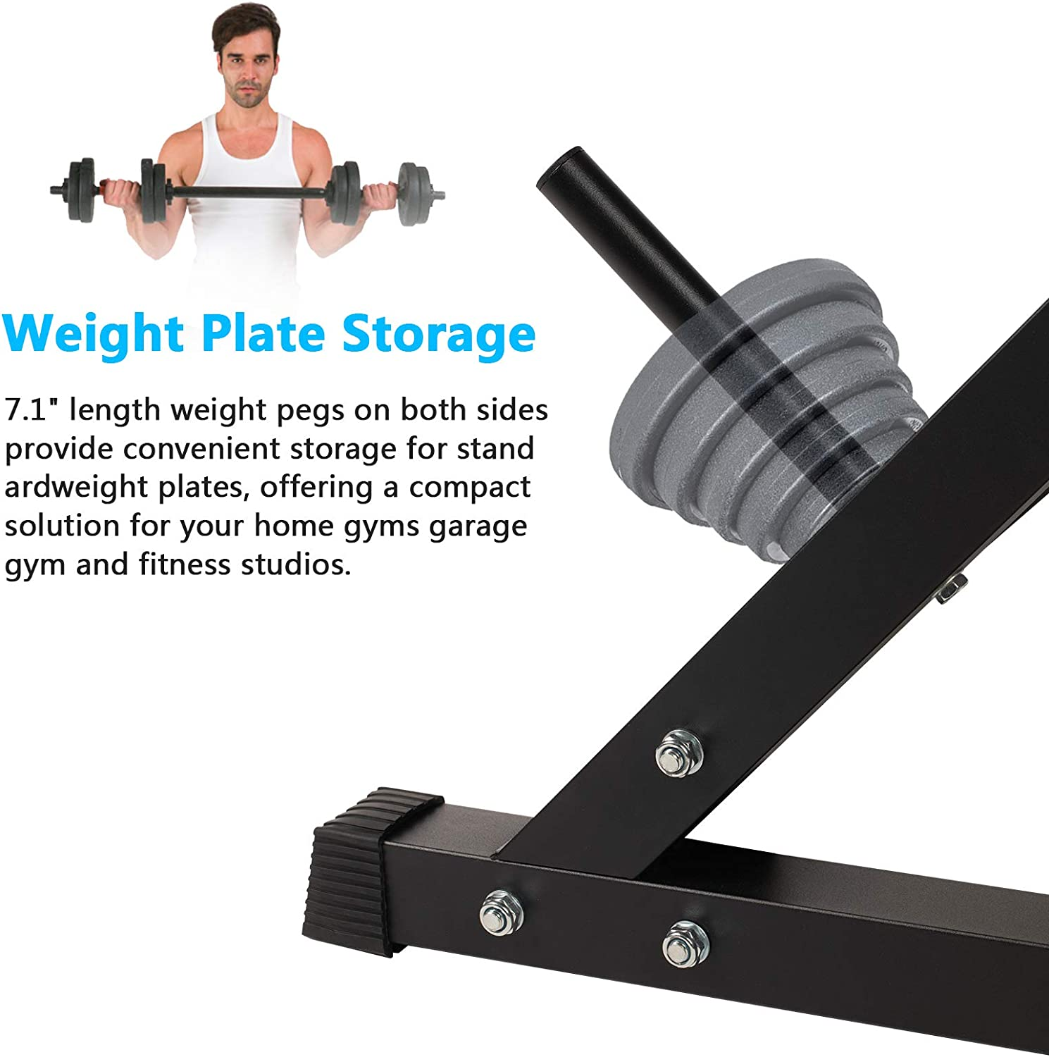 Weanas Squat Barbell Rack Adjustable Bench Press Rack 600LBS Max Load Multi-Function Weight Lifting Home Gym